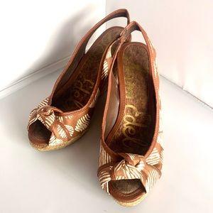 Sam Edelman Brown Wedge Women's Sandals7.5
